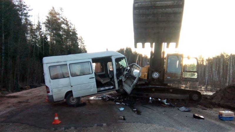 ВПсковской области вДТП сэкскаватором пострадали 5белорусов